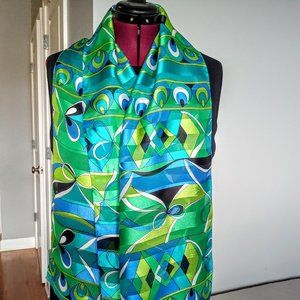 Vintage Blue & Green Abstract Print Oblong Scarf